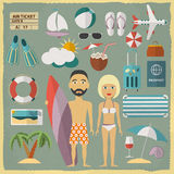 Summer holiday character design with summer Stock Photography
