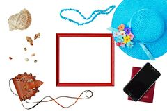 Summer holiday concept, accessories and travel items on white Stock Photography