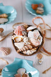 Summer holiday concept. With nautical items over white wooden background. Soft focus, shallow DoF royalty free stock photos