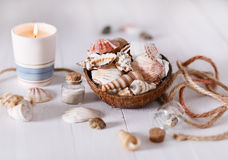Summer holiday concept. With nautical items over white wooden background. Soft focus, shallow DoF royalty free stock images