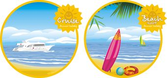 Summer holiday. Cruise and beach resort. Icons for stock images