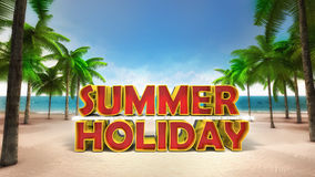 Summer holiday 3D text on the sandy tropical beach Stock Image