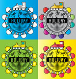 Summer holiday design stamps with cartoon train illustration Stock Image