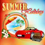 Summer Holiday design template; Exotic landscape in medallion vector illustration