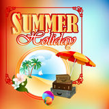 Summer Holiday design template with Summer holiday landscape in medallion stock illustration