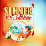 Summer Holiday design template;Summer scene with cartoon girl on the beach Stock Photos