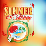 Summer Holiday design template; Summer scene in medallion Stock Photo