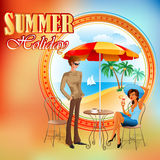 Summer Holiday design template;Young tourists enjoy of holidays Stock Photography