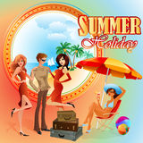 Summer Holiday design template;Young tourists preparing for journey Royalty Free Stock Photo