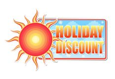 Summer holiday discount in label with sun Royalty Free Stock Photography