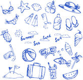 Summer holiday doodle icon and leisure sport item and marine ani Stock Images