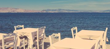 Restaurant by the sea, Mediterranean vacation stock photos