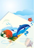 Summer holiday envelope with beach Stock Photography