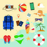 Summer holiday flat icons with background beach. Vector design. Camera pass Stock Photo