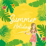 Summer holiday flat icons with lettering. illustration of leaf flower and girl. Summer holiday flat icons with lettering. Vector illustration of leaf flower and Stock Photography