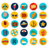 Summer holiday flat icons with long shadow. Vector. Illustration Royalty Free Stock Photos