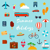 Summer holiday flat icons. Vector. Summer holiday flat icons with lettering. Vector illustration Royalty Free Stock Images