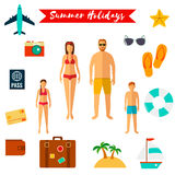 Summer holiday flat icons . Vector. Summer holiday flat icons . People with kids. Vector illustration Royalty Free Stock Photo