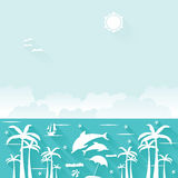 Summer holiday flat tropical vector elements Royalty Free Stock Photo