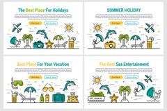 Summer holiday - four rectangular site header Stock Photo