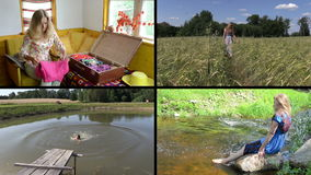Summer holiday gaiety. Relax in nature. Video clips collage. stock video