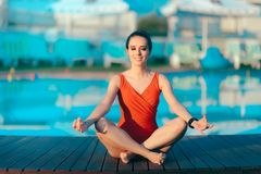 Summer Holiday Girl Doing Yoga by The Pool Royalty Free Stock Images