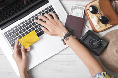 Summer holiday, hand people holding credit card online booking Royalty Free Stock Photos