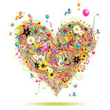 Summer holiday, heart shape with design elements Royalty Free Stock Images