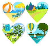 Summer holiday hearts. Four summer holiday heart signs Stock Image