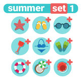 Summer Holiday Icon Set Beach Vacation Concept Travel Stuff Collection Royalty Free Stock Photography