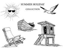 Summer holiday icons collection Stock Images
