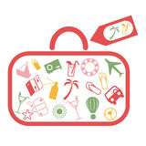 Summer holiday. Icons in red suitcase happy summer Royalty Free Illustration