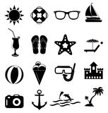 Summer holiday icons set Stock Photos