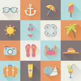 Summer holiday icons Royalty Free Stock Photography