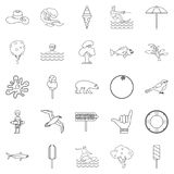 Summer holiday icons set, outline style Royalty Free Stock Photography