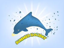 Summer holiday  illustration with blue dolphin Royalty Free Stock Photo