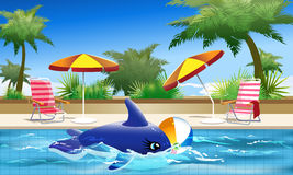 Summer Holiday. Illustration of  toy whale and ball  floating in the hotel pool during siesta time in front of the tropical trees and clear blue sky Royalty Free Stock Photos