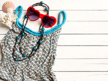 Summer holiday  items,Beach accessories top view. Stock Images