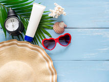 Summer holiday  items,Beach accessories top view. Royalty Free Stock Images