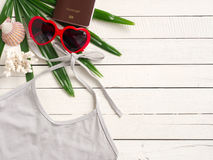 Summer holiday  items,Beach accessories top view. Stock Photos