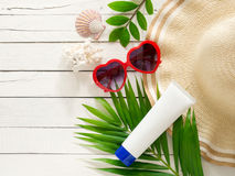 Summer holiday  items,Beach accessories top view. Royalty Free Stock Image