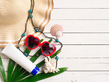 Summer holiday  items,Beach accessories top view. Stock Image
