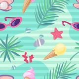 Summer holiday items seamless pattern royalty free illustration