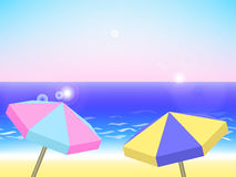 Summer holiday landscape, vector background with beach Royalty Free Stock Photos
