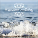 Summer holiday lettering on abstract blurry sea Royalty Free Stock Photo