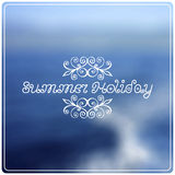 Summer holiday lettering on abstract blurry sea Stock Image
