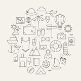 Summer Holiday Line Travel Icons Set Circular Shaped Stock Images