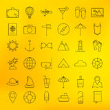 Summer Holiday Line Travel Icons Set Stock Photo