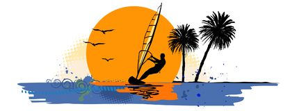 Summer holiday, lonely sailor - vector Royalty Free Stock Images