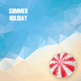 Summer holiday low poly poster with sea water in Royalty Free Stock Photo